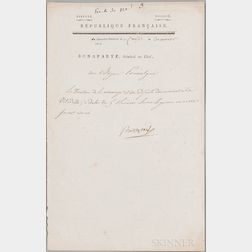 Napoleon I (1769-1821) Military Order Signed, Cairo, 19 January 1799.