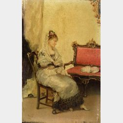 Manuel Wssel (Spanish/Cuban, 1833-1907)  An Elegant Lady and Her Dog
