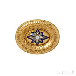 Gold, Pearl, and Diamond, and Enamel Brooch