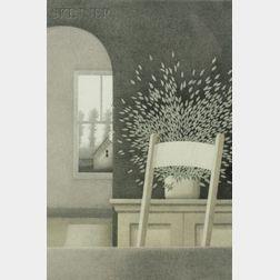 Robert Kipniss (American, b. 1931)      Interior with Side Chair