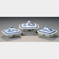 Three Canton Porcelain Covered Serving Dishes