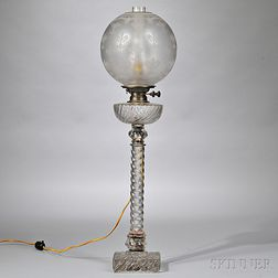 Baccarat-type Colorless Molded Glass Kerosene Banquet Table Lamp