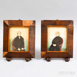 Pair of Framed Watercolor Portrait Miniatures of a Man and Wife