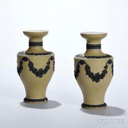 Pair of Wedgwood Yellow Jasper Dip Vases