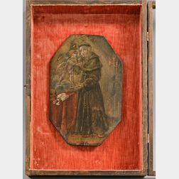 Carved and Painted Wood Retablo of Franciscan Monks in a Shadow Box Frame