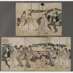 Utagawa Toyokuni (1769-1825), A Procession of Flowers by Mt. Fuji