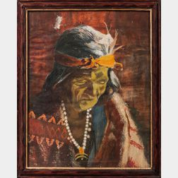 Oil on Canvas Portrait of a Navajo Indian
