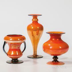 Three Imperial Art Glass Orange Luster Vases