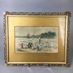 American School, 19th Century    Cotton Picking in Louisiana