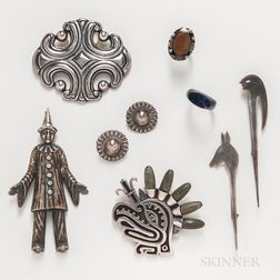 Seven Pieces of Mexican Sterling Silver Jewelry by Los Castillo, Miguel Melendez, and Others