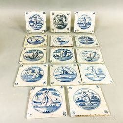 Fourteen Delft Blue and White Tiles