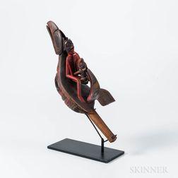 Northwest Coast Carved Wood Raven Rattle