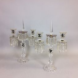 Pair of Baccarat Two-light Candelabra