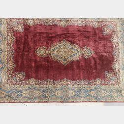 Mauve and Blue Kerman Room-size Carpet
