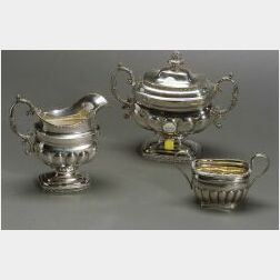 American Federal Coin Silver Covered Sugar Bowl and Creamer