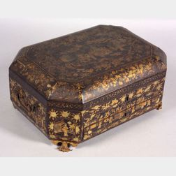 Chinese Export Lacquered Wood Sewing Box