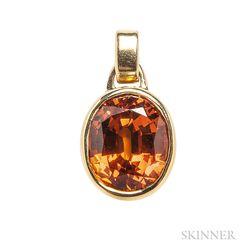 14kt Gold and Orange Sapphire Pendant