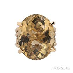 18kt Gold and Lemon Quartz Ring