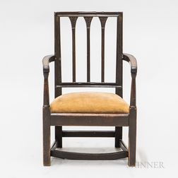 Mahogany Carved Child's Square-back Armchair