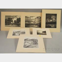 Alfred Russel Fuller (American, 1899-1980)      Six Lithographs:  Two Western Views, a Landscape, and Three Water Views