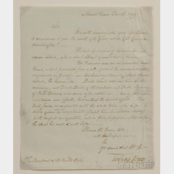 Washington, George (1732-1799) Letter to President John Adams (1735-1826), Signed by Tobias Lear (1726-1816), An Account of the First P