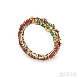 18kt Gold and Enamel Bangle