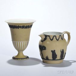 Two Wedgwood Yellow Jasper Dip Items