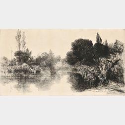 Sir Francis Seymour Haden (British, 1818-1910)      Shere Mill Pond, No. II.