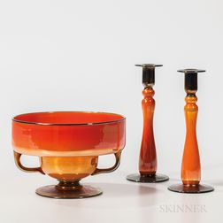 Three-piece Imperial Art Glass Console Set