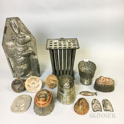 Small Group of Wood and Tin Butter and Food Molds