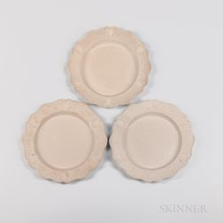 Three Staffordshire Press-molded Salt-glazed Plates