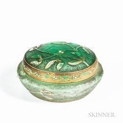Daum Nancy Art Glass Round Covered Box
