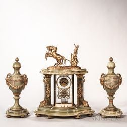 Three-piece Onyx Clock Garniture