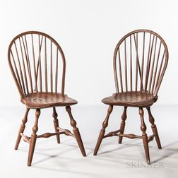 Near Pair of Braced Bow-back Windsor Chairs