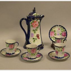 Nine-Piece Handpainted Rose and Cobalt Decorated Porcelain Chocolate Set.