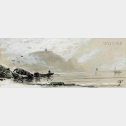 Alfred Thompson Bricher  (American, 1837-1908)      Figure in a Boat Near Shore