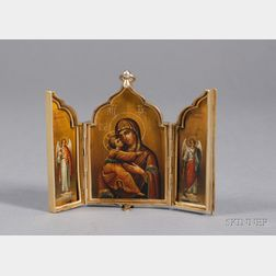 Russian Gold-washed Silver Triptych Travel Icon