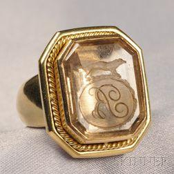 18kt Gold and Citrine Intaglio Ring, Elizabeth Locke