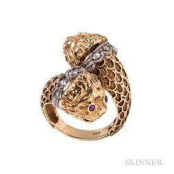 18kt Gold Lion Head Ring