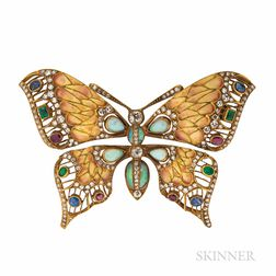 18kt Gold Gem-set Butterfly Brooch