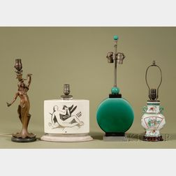 Miscellaneous Group of Four Metal and Ceramic Lamps