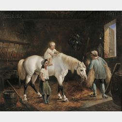 Louis-Claude Malbranche (French, 1790-1838)      Stable View with Horse and Three Figures