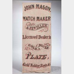 "Painted Linen ""JOHN MASON, WATCHMAKER & JEWELER"" Trade Sign"