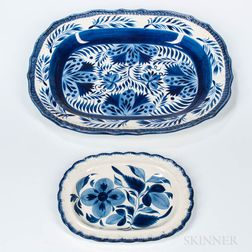 Two Blue and White Decorated Pearlware Platters
