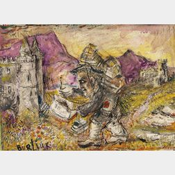 David Davidovich Burliuk (Ukrainian/American, 1882-1967)      Itinerant Artist in a Castle Landscape