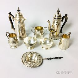 Group of Sterling Silver Tableware and Two Silver-plated Teapots