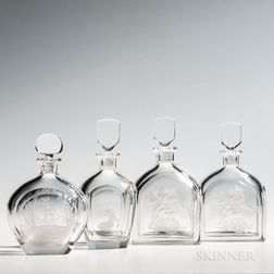 Four Etched Orrefors Glass Decanters