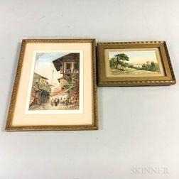 Two Framed 20th Century Greek School Watercolor Scenes