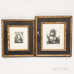 Two Framed Dutch 17th Century-style Engravings