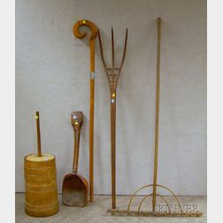 Five Wooden Farm and Domestic Items